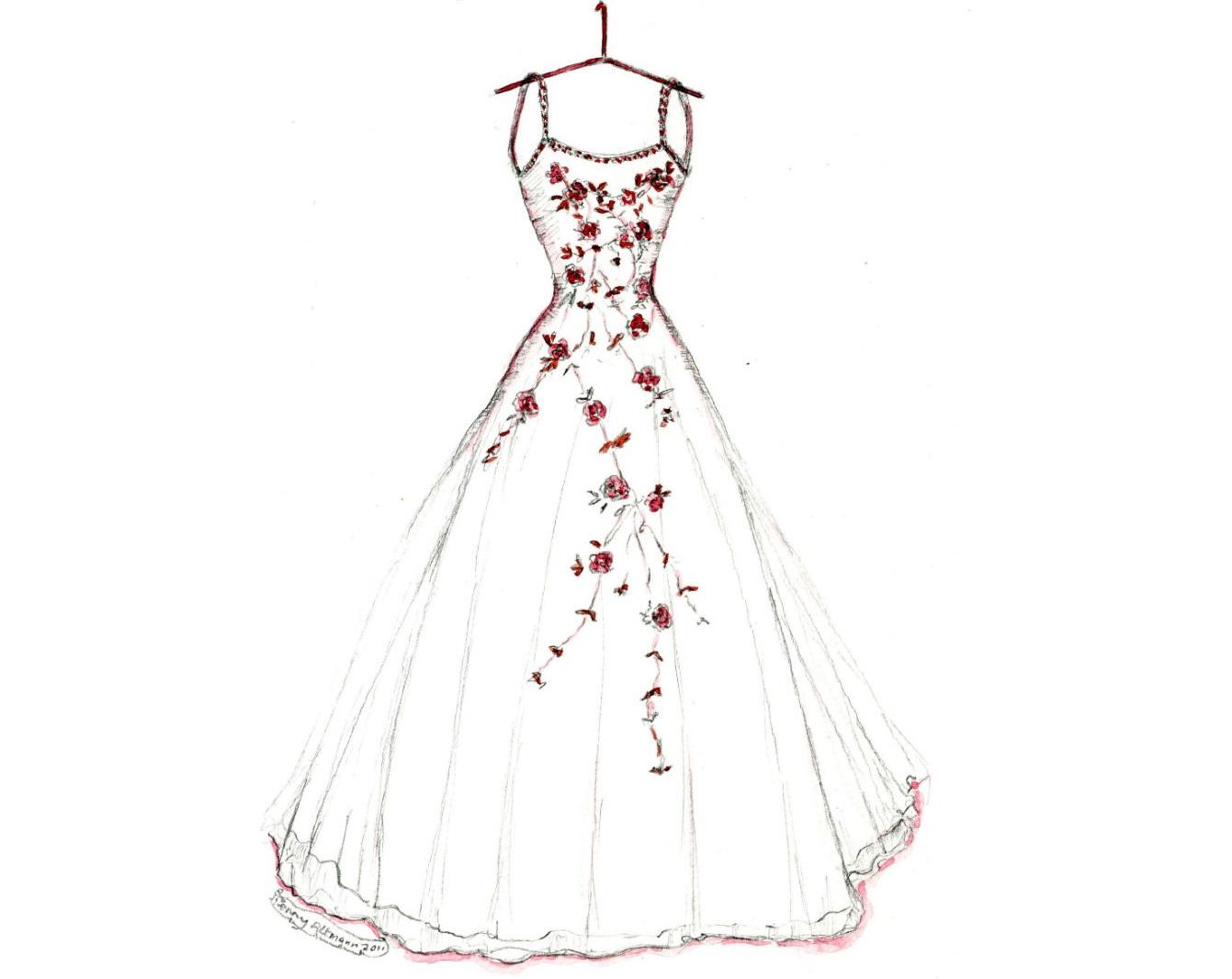 Wedding Gown Sketch 4 Свадьба без жениха: новый тренд?