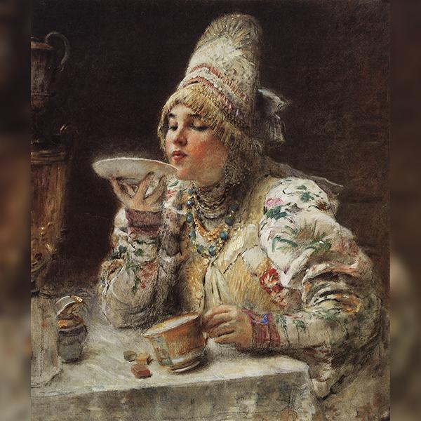«За чаем», Константин Маковский (1914)