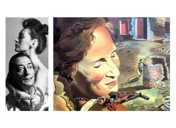 «Портрет Гала с двумя ребрышками ягненка, балансирующими на ее плече», Сальвадор Дали